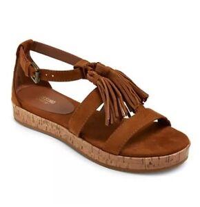 047ebb75854 Image is loading Mossimo-Womens-Sandal-Larissa-Brown-Ankle-Strap-Fringe-