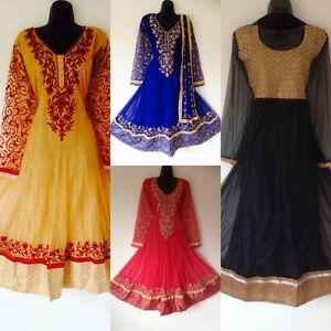 Indian-Pakistani-Pink-Blue-Anarkali-Salwar-Kameez-Ladies-Long-Women-Black-S-XXXL