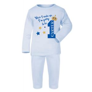 Personalised When I Wake Up 1 Prince Blue Pyjamas Children/'s Birthday Pjs