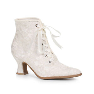 Ellie 253-ELIZABETH White 2.5 inch Heel Boot with Lace