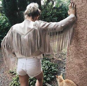 Mit Jacke Faux Optik Suede With Zara Wildleder Size M Jacket Fransen S Fringes qZBftw