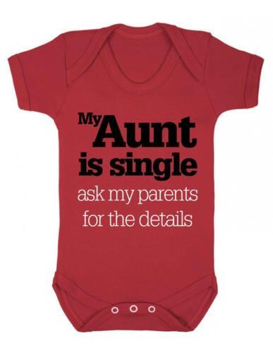 "BNWT Baby Bodysuit Funny /"" My Aunt is Single/"" Baby Grow Fun"