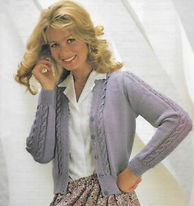 11a143f018ecf2 Ladies women s cable detail cardigan knitting pattern 32
