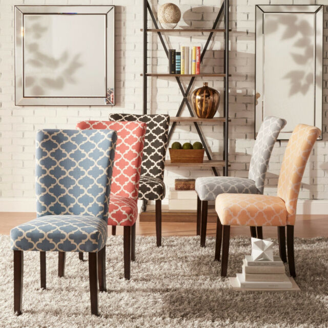 Outstanding Catherine Moroccan Pattern Fabric Parsons Dining Chair Set Of 2 By Inspire Q Creativecarmelina Interior Chair Design Creativecarmelinacom