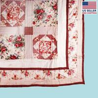Quilt Red Check Floral Cotton Full/queen 86 Katarina | Renovator's Supply on sale