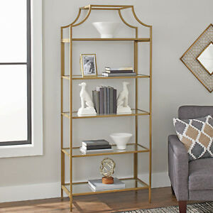 Image is loading Modern-Gold-Bookcase-Glass-Metal-Display-Book-Shelf- & Modern Gold Bookcase Glass Metal Display Book Shelf Storage Shelving ...