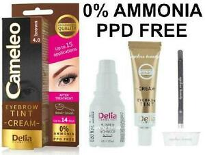 Eyebrow Brown Color Tint Henna Cream Kit Set Dye No Ammonia Ppd