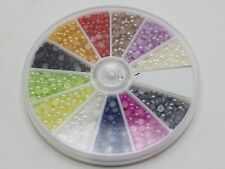 1500 Mixed Colour Tiny Half Pearl Bead 3mm Flat Back with Wheel 12 Colour