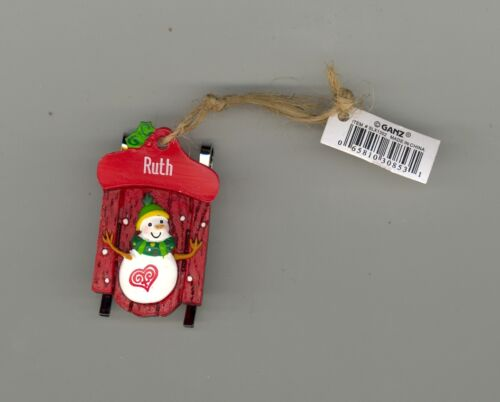 Ganz Snowman Sleigh Sled Ornament Personalized /'RUTH/'  Stocking Stuffer NWT
