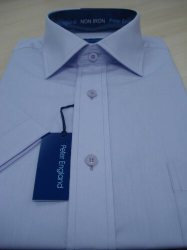 "18/"" Peter England Mens Short Sleeve Cotton Rich Plain Lavender Shirt 14h/"""