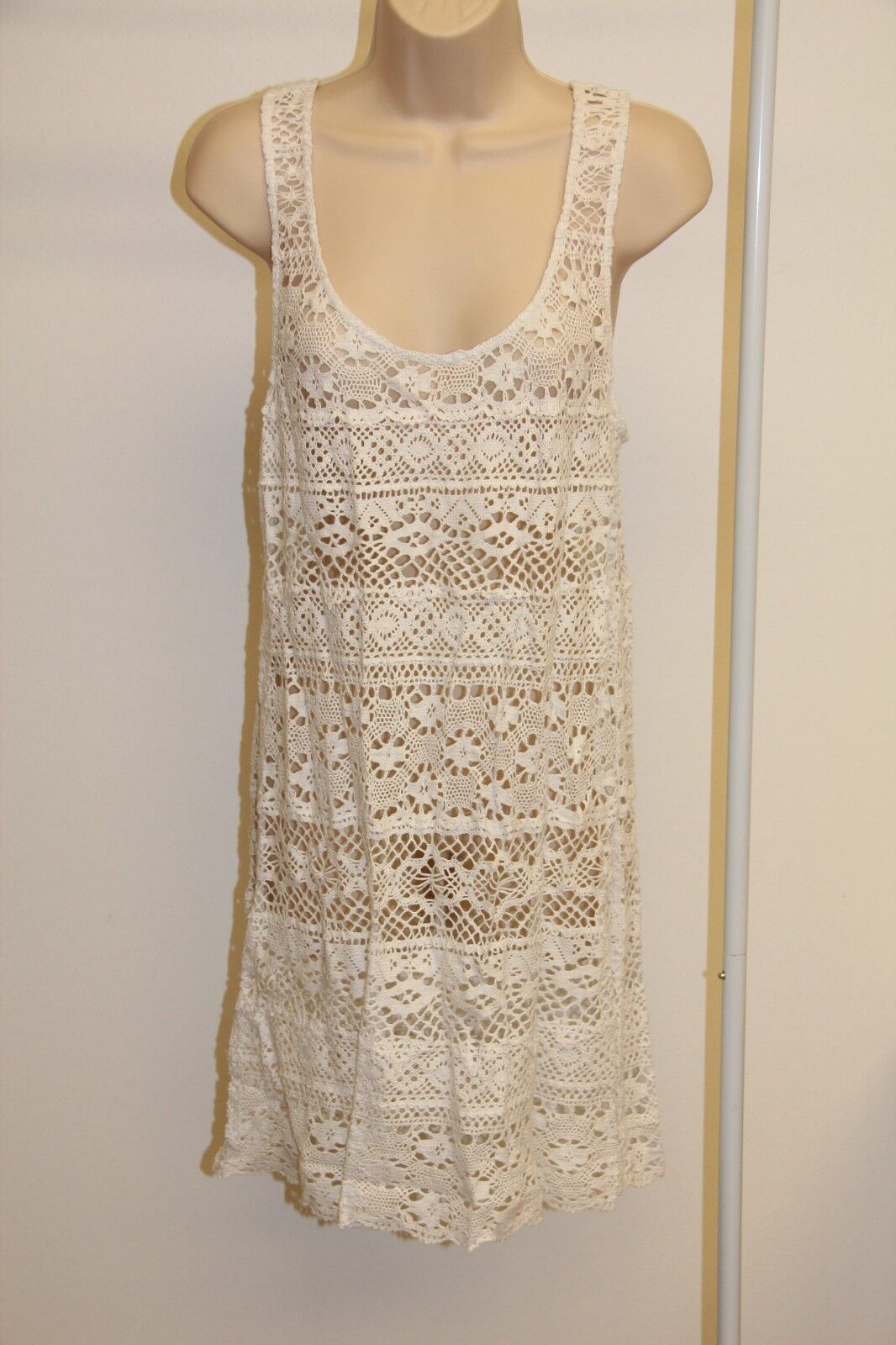 New Nanette Lepore Swimsuit Cover Up Dress Size L White  164