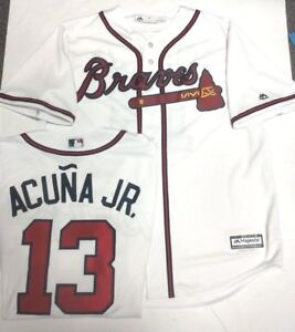 the best attitude 64a86 f2322 Details about ACUNA JR ATLANTA BRAVES MENS XL WHITE COOL BASE JERSEY  MAJESTIC