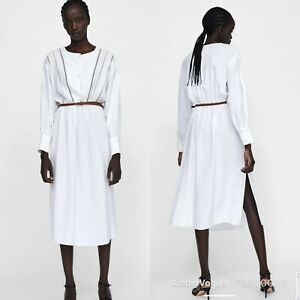 71ec4f11ddc Image is loading Zara-White-Flowing-Midi-Dress-With-Belt-Size-