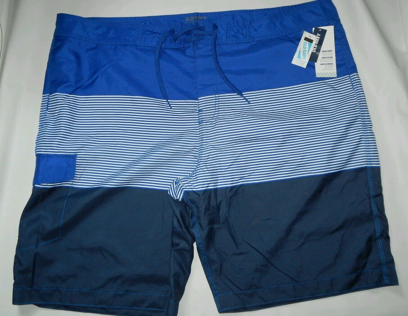 OLD NAVY MENS BOARD SHORTS blueE SIZE XXL XXXL BIG MENS STRIPED NETTED (A11)