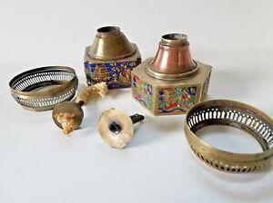 Two-Vintage-Chinese-Brass-Enamel-Cloisonee-Opium-Oil-Lamp