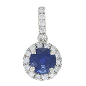 NEW-1-20ctw-Round-Cut-Sapphire-amp-Diamond-Pendant-14k-White-Gold-Halo