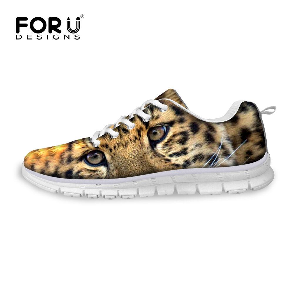 Leopard Panda Tiger Print Women Sport Shoes Smart Trainers Sneakers Size 5-10