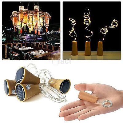 LED Solar Wine Bottle Cork Shaped Copper Wire Fairy Light Holiday Decor UK