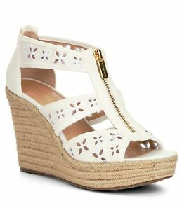 Details about Women MICHAEL Michael Kors Damita Floral Wedge Sandals, White Size 9 Canvas