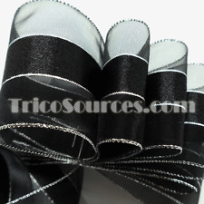 "Party Decoration Organza Ribbon Gift Ribbon Silver Edge 2""(50mm) x 25YDS - B4031"