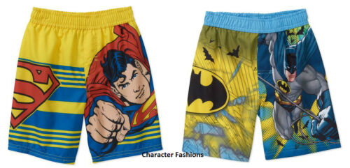 SUPERMAN BATMAN 12 18 24 Months 2T 3T 4T 5T Boys SWIM SHORTS Trunks Bathing Suit