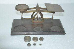 Old-Wooden-amp-Brass-Handcrafted-Unique-Shape-Weight-Measuring-Balance-Scale