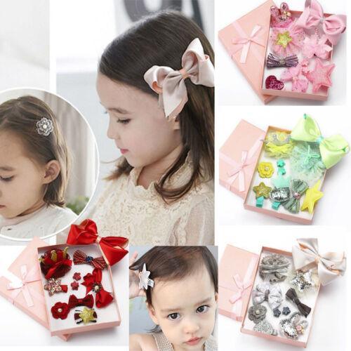 10PCS Kids Baby Girl Head Clips Hair Bows Crown Princess Bobbles Set