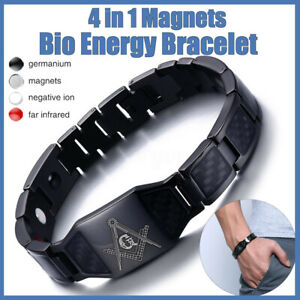 NEW! BLACK MENS STRONG BIO MAGNETIC HEALING THERAPY BRACELET FOR ARTHRITIS
