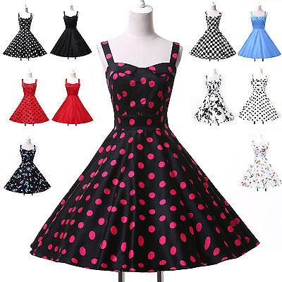 FREE SHIP AU> Vintage Polka dots Retro Swing 50s 60S Housewife Dress