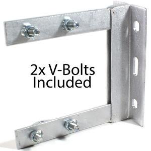 6-034-x-6-034-TV-Aerial-Wall-Mounting-Bracket-amp-V-Bolts-Galvanized-Pole-Mast-Install