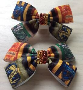 2-Girls-Harry-Potter-Handmade-Ribbon-Hair-Bows-Clasps-Clips