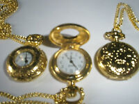"""29"""" Necklace Chain Small Yellow Gold Plated Pocket Watch Vintage Style Gift"""