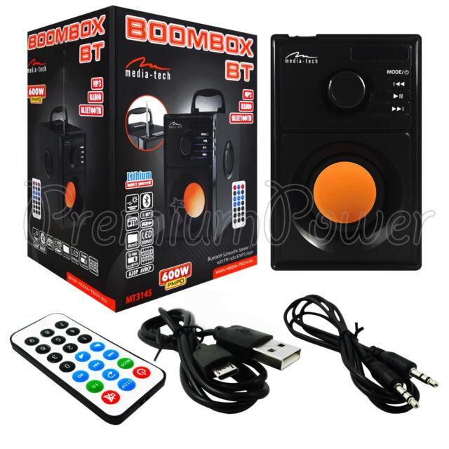 MediaTech BOOMBOX BT MT3145 Bluetooth Speaker FM Radio MP3 Player Music USB 600W
