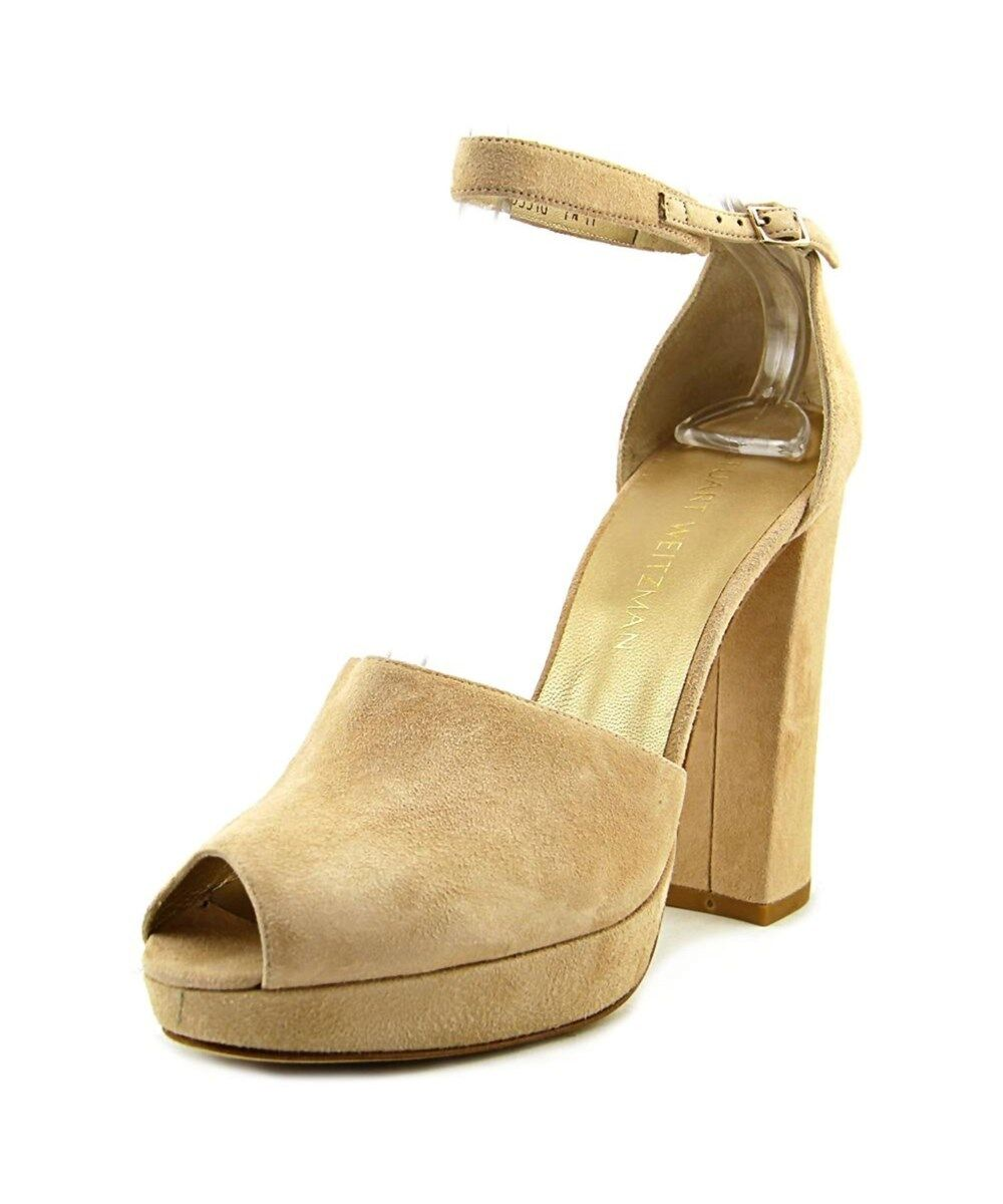 NWOB Stuart Weitzman Valley Girl Peep Peep Peep Toe Suede Platform Sandals Pumps Sz 9  485 f46d4c