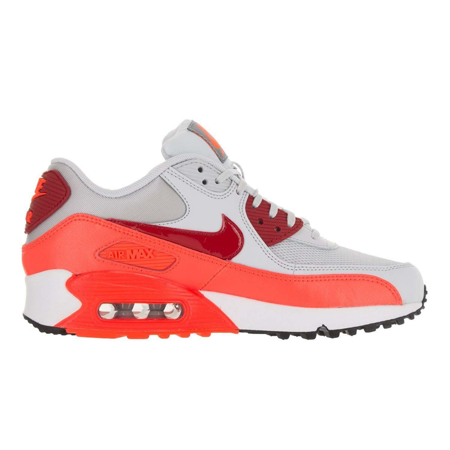 NIKE Air Max 90 Essential (Pure Platinum Gym Red-Total Crimson)