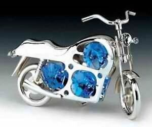 Motorcycle-FIGURINE-ORNAMENT-SILVE-PLATED-WITH-BLUE-AUSTRIAN-CRYSTAL