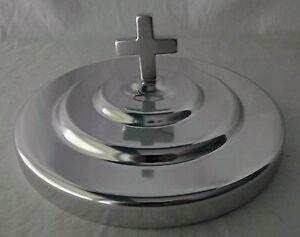 Communion-Plate-Cover-Silvertone-Lord-039-s-Supper-6-1-2-034-Cross-Mirror-Finish-NEW