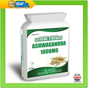 90-ASHWAGANDHA-CAPSULES-DAILY-DOSE-2000mg-STRESS-FATIGUE-ANXIETY-RELIEF