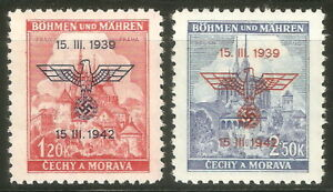 DR-Nazi-3rd-Reich-Rare-WW2-039-1943-Nazi-Overprint-Swastika-Eagle-Occupation-Czech