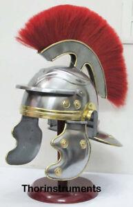 Roman-Centurion-Helmet-Red-Plume-Medieval-Knight-Crusader-Armor