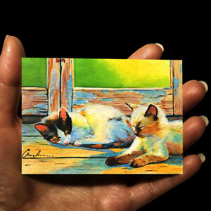 original-miniature-painting-ACEO-art-picture-watercolor-animals-drawing-CATS
