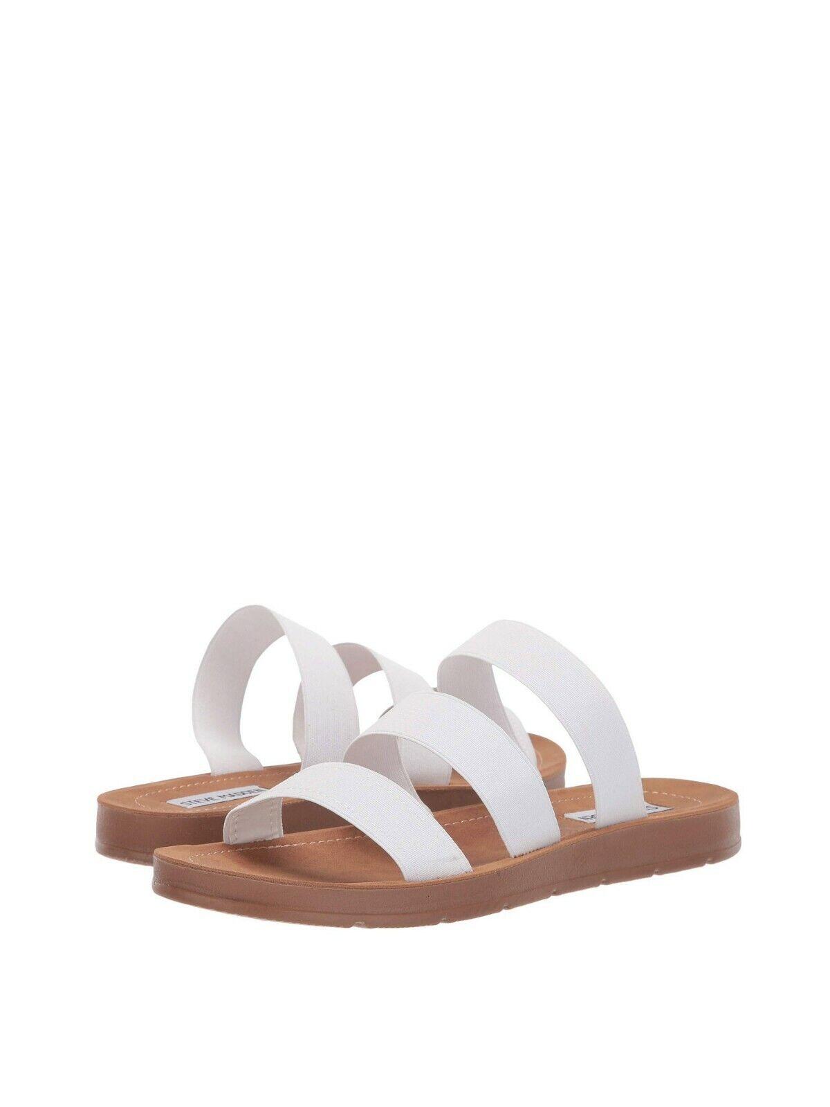 Women's shoes Steve Madden PASCALE Casual Elastic Slide Sandals WHITE