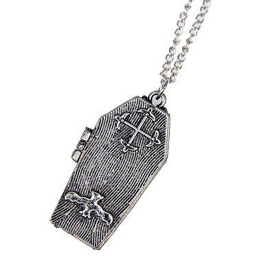 Retro Coffin Locket Prayer Poison Bat Box Gothic Pendant Necklace Jewelry Hinged