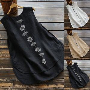 ZANZEA-Womens-Summer-Tank-Top-Vest-Camisole-Tee-Shirt-Crew-Neck-Floral-Blouse