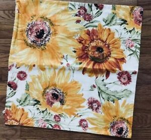 Pottery Barn Watercolor Sunflower Pillow Cover Yellow 20 Sq Spring Botanical Ebay