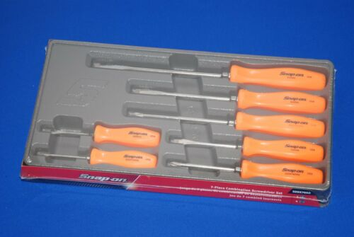 NEW Snap-On 7 Piece Combination Screwdriver Set Orange SDDX70AO SHIPS FREE