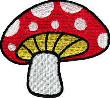 Patch Pink /& Black Mushroom Hippie 60s Shroom Stem Embroidered Iron On #51067