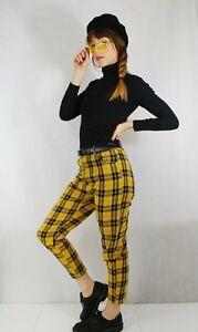 Femme-Clueless-Style-Double-Taille-Haute-Tartan-Carreaux-Pantalon-Moutarde-Marine