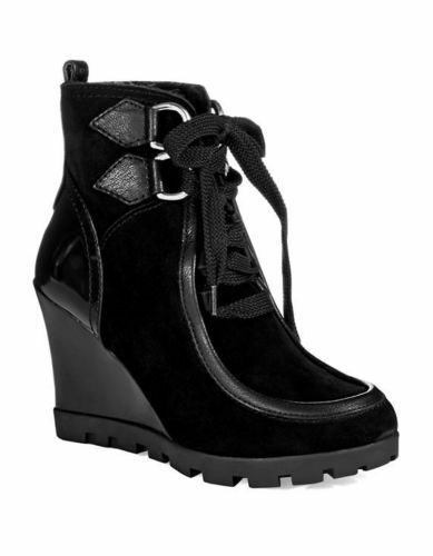 GUESS  WOMENS LANNI FAUX-FUR WEDGE BOOTIES BLACK SZ 6.5 NEW