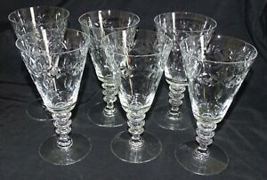Set-of-6-Cut-Glass-Water-Goblets-6-5-8-034-3-Wafer-Stem
